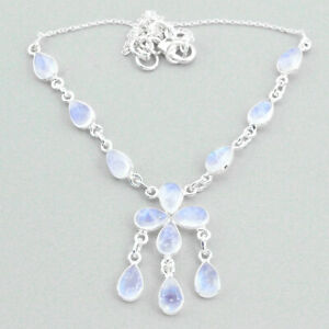 21.48cts Natural Rainbow Moonstone 925 Sterling Silver Necklace Jewelry T34137