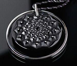 LALIQUE Cactus Crystal Black Enamel Dots Pendant Necklace New Box 7787500