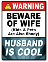 2 - Warning HUSBAND COOL STICKER Decal Room Sign Man Cave Garage Shop FUNNY GIFT