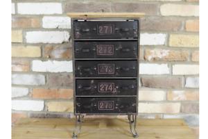Industrial Style Drawer Cabinet Free Standing Metal Black Rustic Wood Furniture