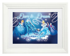 White Framed Art Print Picture with Mount Cinderella Dare to Dream Character