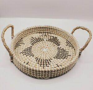 Round Rattan Bread Basket Tea Tray Wicker Serving Tray Coil Basket with Handles