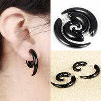 Punk Stud Earrings Rock Men Black Earrings Women PVC Anti Allergy Earrings FO