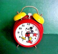 VINTAGE BRADLEY WORKING MICKEY MOUSE WIND-UP ALARM CLOCK MADE IN GERMANY 1970'S