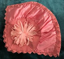 Antique Victorian Pink Satin & Crochet Bouduoir Dust/Night Cap Bonnet