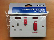 45a 1 Gang Cooker Switch & Socket With Neon Standard White Square Edge Finish