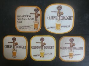 "6 x  GOLD TOP DRAUGHT 1970,S Issue collectable BEER Coasters /"" NO MORE  /'"