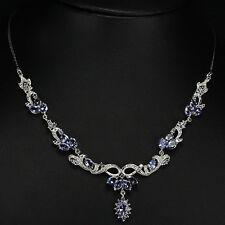 Sterling Silver 925 Genuine Blue Violet Tanzanite Flower Necklace & Drop 18 Inch