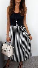 ★Kleid Lang Maxikleid Lagenlook Cocktailkleid Streifen schwarz weiss ★ 36 38