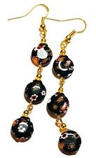 Very Long Gold Black Millefiori Earrings Glass Bead Drop Dangle Pierced Hook