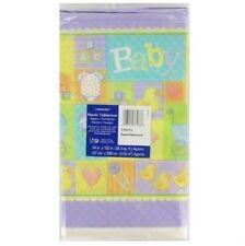 Pastel Patchwork Baby Shower Table cover Duck Giraffe Onsie Stroller Design