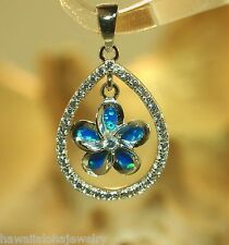 15mm Hawaiian Rhodium Over 925 Silver Dangling Plumeria Opal Teardrop CZ Pendant