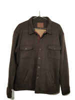Agave Denim Men's Classic Cut Line Shirt Jacket XL Wool Cotton Blend Brown