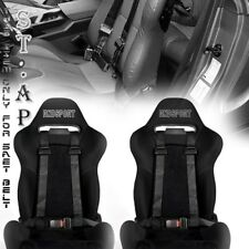 "FIT US-CAR 2X(TWO) JDM 4-POINT RACING SAFETY HARNESS 2"" INCH STRAP SEAT BELT BLK"