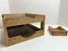 Vintage Wood Handmade Yardstick Paper Note Tray Holder Office Desk Top Organizer