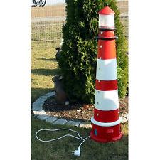 LEUCHTTURM AMRUM SYLT 105 cm rot-weiß BLINKLICHT Garten Deko Figur MEER maritim
