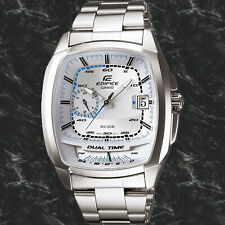 Casio EF321D-7AV Men's Edifice Stainless Steel White Dial Square Watch 100M WR