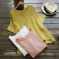 Women Linen Cotton Short Sleeve Blouse Summer Beach Casual Shirt Tunic Loose Top