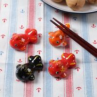 Japanese Chopstick Rest Ceramic Koi Goldfish Holder Spoon Fork Rack Home Tool