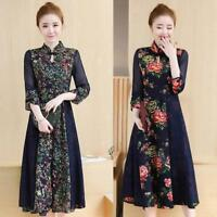 Qipao dress Womens Flower Vintage Prom Party PrintSummer Cheongsam Chinese Style