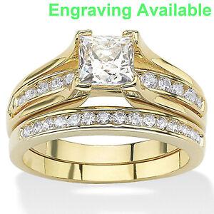 Women 14k Gold Plated Princess Cut AAA CZ Wedding Ring Set Size 5,6,7,8,9,10,11