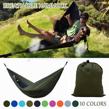 270x140CM Hamaca Doble 210T Nylon Hanging Swing Cama acampar al aire libre-Gris