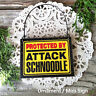 DECO Mini Sign PROTECTED BY ATTACK Schnoodle Hanger Plaque Dog Wood Ornament USA