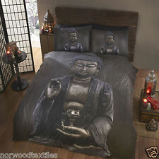 Oriental Buddha Photo Print Duvet Quilt Cover Bedding Set - 2 Designs Available Super King Grey