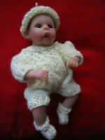 Doll Clothes 3pc Hand knitted suit sleeper for mini baby ooak  fit A. Drake 6in.