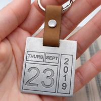 Custom Calendar Keychain Engraved Calendar Keyring Date Keyring Anniversary Gift