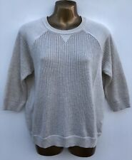 M&S LIMITED COLLECTION Cotton Eyelet Jumper Size 14 Natural, Thin Knit WORN ONCE