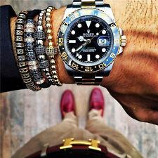 Unisex New Style Anil Arjandas Macrame Bracelet 18k Rhodium GF Black Pave Beads
