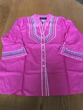 Bob Mackie Womens Wearable Art Pink Embroidered Blouse XL New