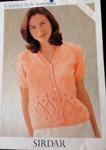 """sirdarLadies Knitting Pattern Short Sleeve Cardigan DK Size 32/50"""""""