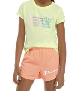 Champion Girls Size Large Ombré Logo T Shirt in Solar Ice Yellow New with Tags