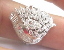 Platinum Pear Round Marquise & Baguette Diamond Solitaire W Accents Ring 2.40Ct