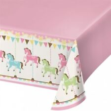 "Carousel Plastic Banquet 54"" x 102"" Tablecloth Baby Shower Girl Birthday Party"