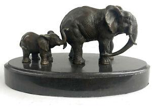 Mother Und Kind Afrikanischer Elefant Tier Kingdom Barye Messingskulptur Statue