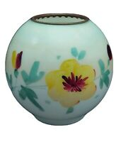 Antique Lamp Shade Glass Globe Ring Ball Hand Painted Yellow Blue Vintage GWTW