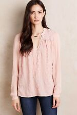 Tiny Anthropologie Blush Pink Split Neck Embroidered Top Shirt Blouse Small S