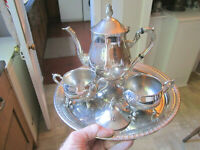 Old Antique Regency Style 3 Piece Silver Plate Teapot Set Teekane and Tray