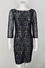 Erin Fetherston Lace Dress Silver Metallic Cocktail Party Sz 6 Sheer Sleeves