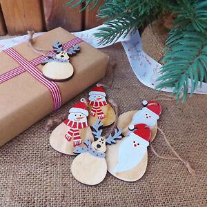 Juego 6 Madera Personaje Navidad Árbol Decoración O Etiquetas Santa Muñeco Reno