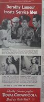 1943 Royal Crown RC Cola Soda Dorothy Lamour Treats Service Men Original Ad