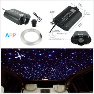 DIY Car 12V RGBW 300Pcs 2M LED Fiber Optic Light Star Ceiling Kit 12W Music Mode