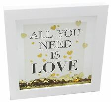 En bois or coeur confettis décoration cadre 17cm ~ all you need is love