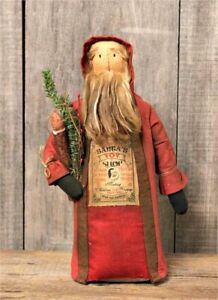 Primitive Vintage Aged Reroduction`Santa Doll`Toy Shop with LED Candle and Tree