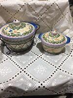 Temptations by Tara 1 Qt Loaf Pan Old World Confetti Blue Green w/ Trivet & Rack