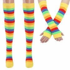 Girls Rainbow Striped Knee Thigh High Socks / Arm Warmer Gloves for Fun Party