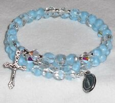 Rosary Wrap Bracelt Crystal Lt Blue Givre Faceted Czech Beads Handcrafted
